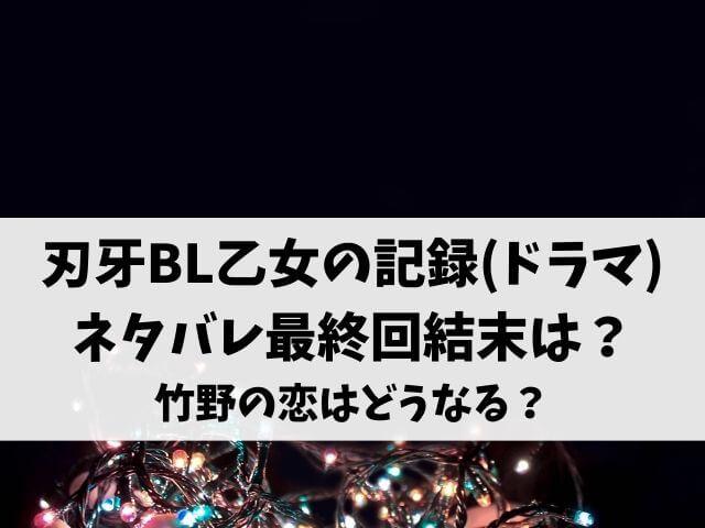 刃牙BL乙女の記録(ドラマ)ネタバレ最終回結末は?竹野の恋はどうなる?