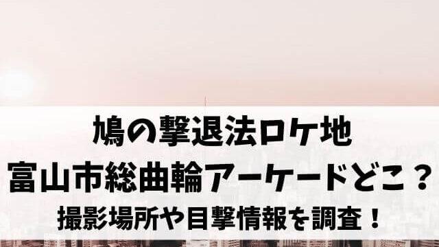 鳩の撃退法ロケ地富山市総曲輪アーケードどこ?撮影場所や目撃情報を調査!